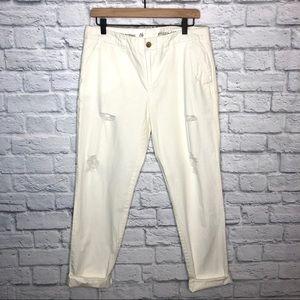 GAP White Broken-in Straight Khakis